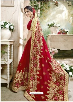 Extraordinary Red Embroidered Faux Georgette Designer Saree With Lace Border