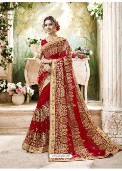 Wonderful Red Embroidered And Lace Border Faux Georgette Designer Saree