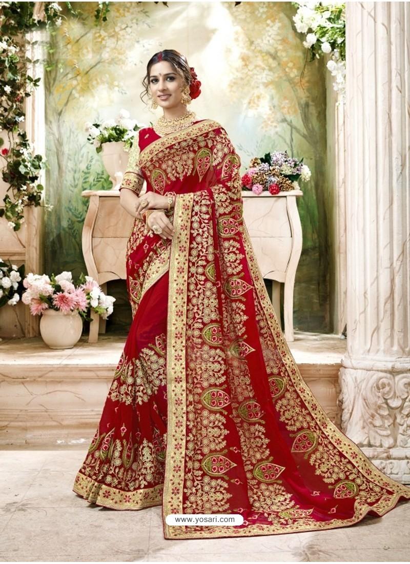 c6e07379e4 Wonderful Red Embroidered And Lace Border Faux Georgette Designer Saree