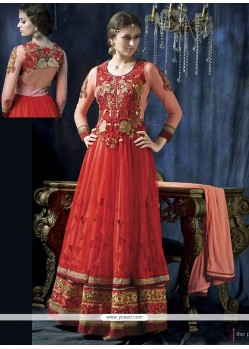 Jaaz Red Net Anarkali Salwar Suit
