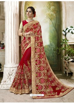 Mind Blowing Red Embroidered And Lace Border Faux Georgette Designer Saree