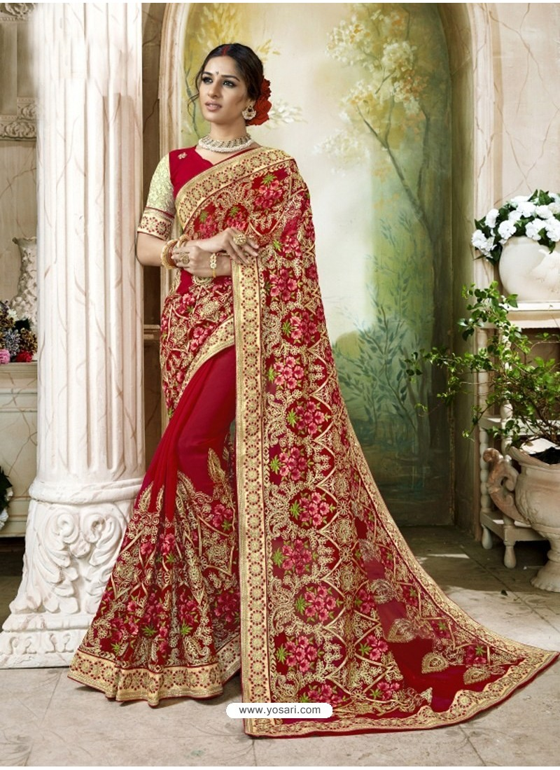 9e02d51caf Mind Blowing Red Embroidered And Lace Border Faux Georgette Designer Saree