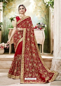 Attractive Red Embroidered Faux Georgette Designer Saree With Lace Border