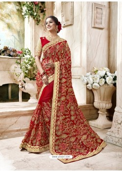 Graceful Red Heavy Embroidered Faux Georgette Designer Saree