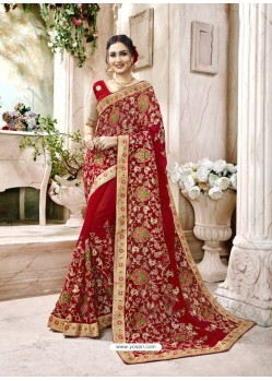 Heavenly Red Embroidered Faux Georgette Designer Saree With Lace Border