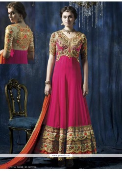 Splendid Pink Embroidery Work Anarkali Suit