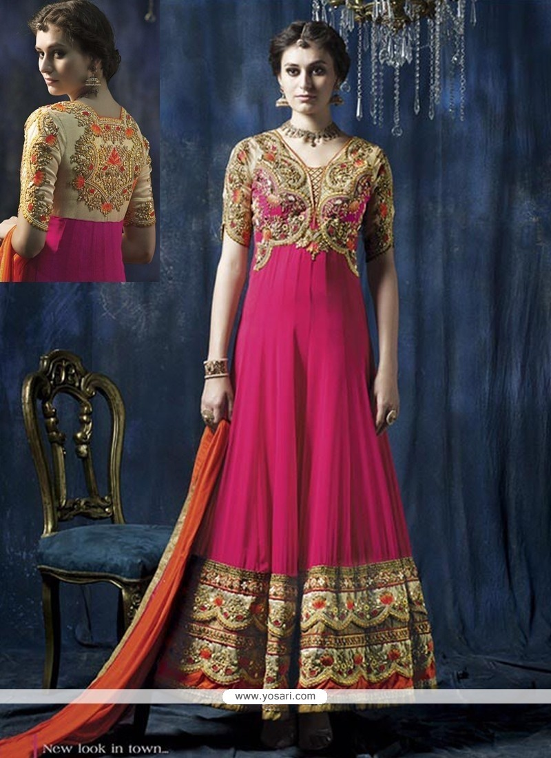 Splendid Pink Embroidery Work Anarkali Suit