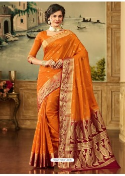 Orange Zari Worked Designer Silk Saree