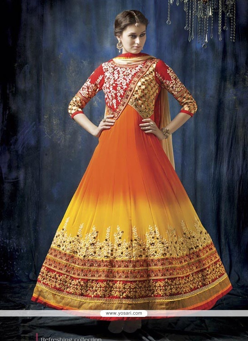 Orange And Yellow Shaded Georgette Anarkali Suit
