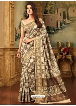 Latest Light Beige Zari Worked Designer Silk Saree
