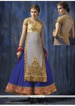 Amazing Lehnga Style Grey Georgette And Net Anarkali Suit