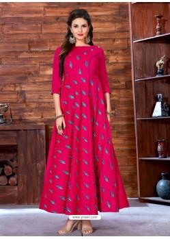 Fuchsia Art Silk Embroidered Designer Gown