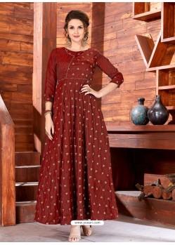 Coffee Brown Art Silk Embroidered Designer Gown