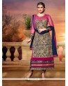 Navy Blue Embroidery Work Churidar Suit