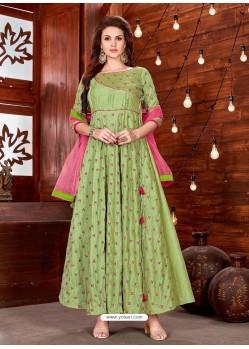 Green Art Silk Embroidered Designer Gown