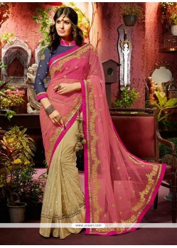 Delightful Pink And Beige Shaded Net Saree