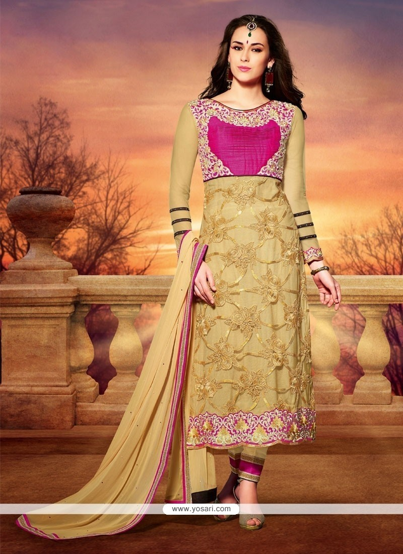 Lovely Beige Net Churidar Salwar Kameez