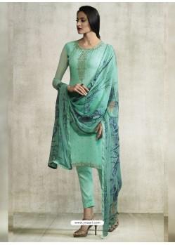 Sea Green Viscose Georgette Designer Straight Suit