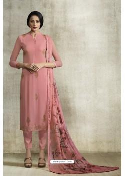 Light Pink Viscose Georgette Designer Straight Suit
