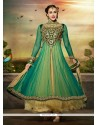 Green And Cream Net Anarkali Salwar Suit