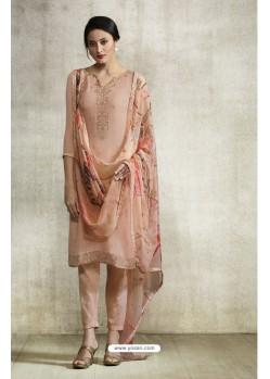 Peach Viscose Georgette Designer Straight Suit