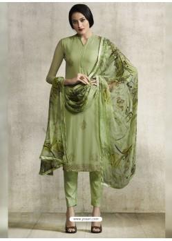 Green Viscose Georgette Designer Straight Suit