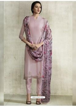 Mauve Viscose Georgette Designer Straight Suit