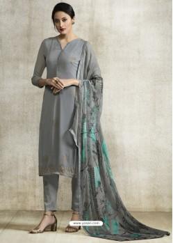 Dull Grey Viscose Georgette Designer Straight Suit