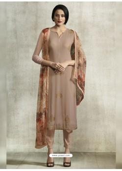 Light Brown Viscose Georgette Designer Straight Suit