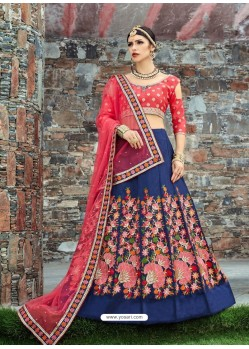 Dark Peach And Navy Blue Silk Embroidered Designer Lehenga Choli