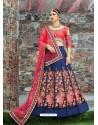 Dark Peach And Navy Blue Silk Embroidered Designer Lehenga Choli