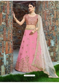 Light Pink Silk Embroidered Designer Lehenga Choli