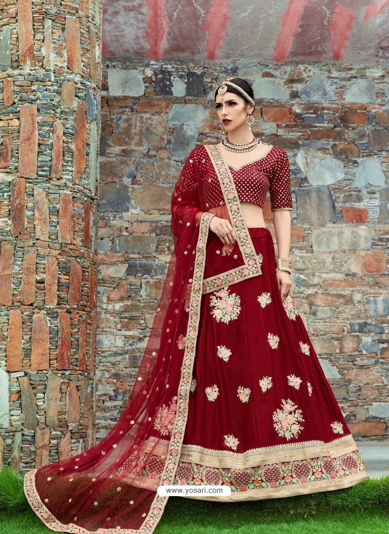 Maroon Silk Embroidered Designer Lehenga Choli