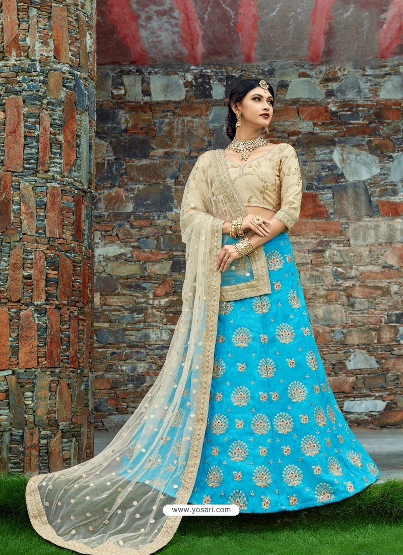 Beige And Firozi Silk Embroidered Designer Lehenga Choli