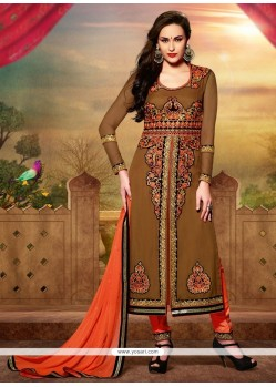 Amazing Brown Art Silk Churidar Salwar Suit