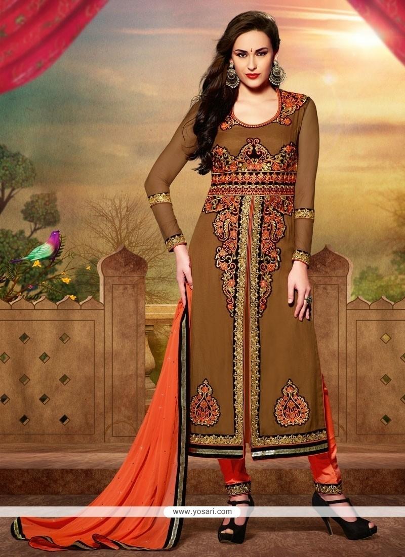 Amazing Brown Art Silk Churidar Salwar Suit