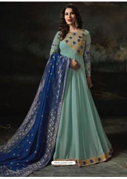 Sky Blue Embroidered Georgette Designer Anarkali Suits