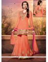 Amazing Peach Georgette Palazzo Suit