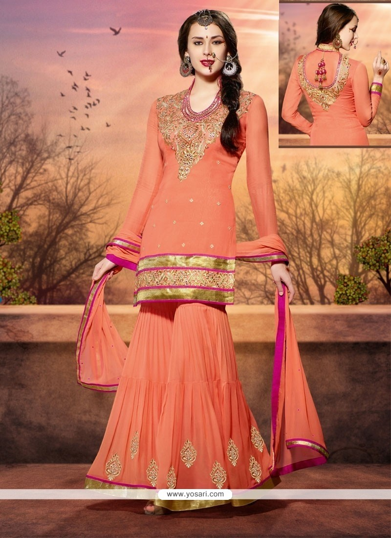 8ed295b7f7b Shop online Amazing Peach Georgette Palazzo Suit