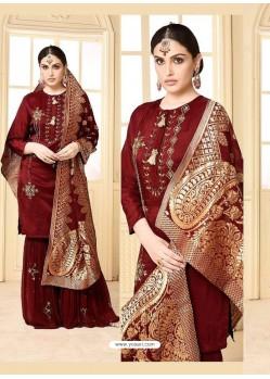 Maroon Rangoli Georgette Designer Embroidered Sarara Suit