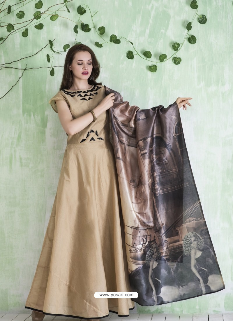 6a664a23b3 Buy Biege Embroidered Designer Party Wear Silk Gown | Gowns