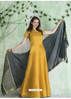 Yellow Embroidered Designer Party Wear Silk Gown