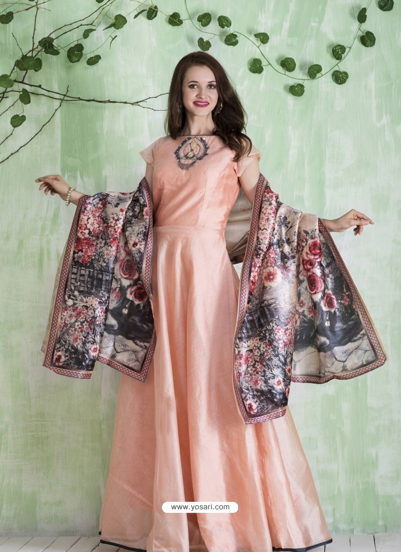 Buy Peach Embroidered Designer Party Wear Silk Gown | Gowns