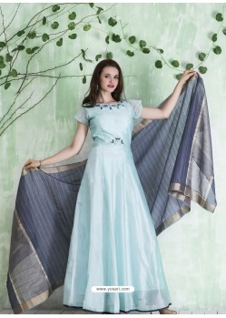 Sky Blue Embroidered Designer Party Wear Silk Gown