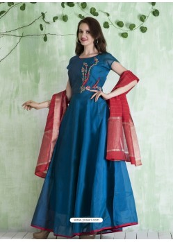 Peacock Blue Embroidered Designer Party Wear Silk Gown