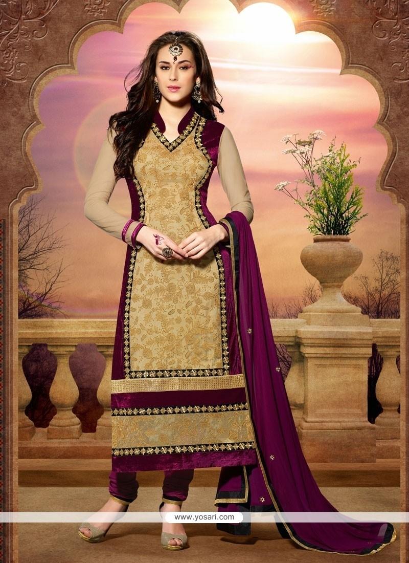 Beige Net And Velvet Churidar Salwar Suit