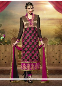 Latest Black Art Silk Churidar Salwar Kameez
