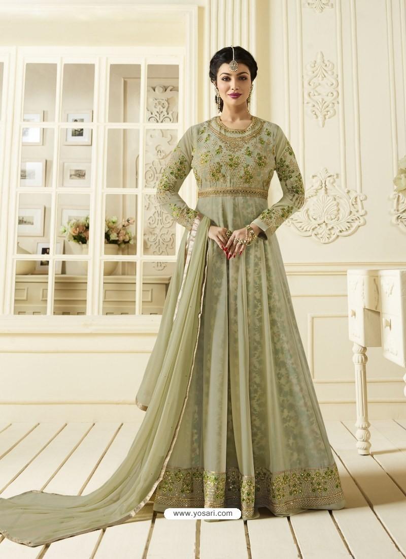 7318070768 Buy Olive Green Jari Embroidered Georgette Designer Anarkali Suit ...