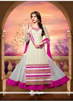 Fab White Net Designer Anarkali Suit
