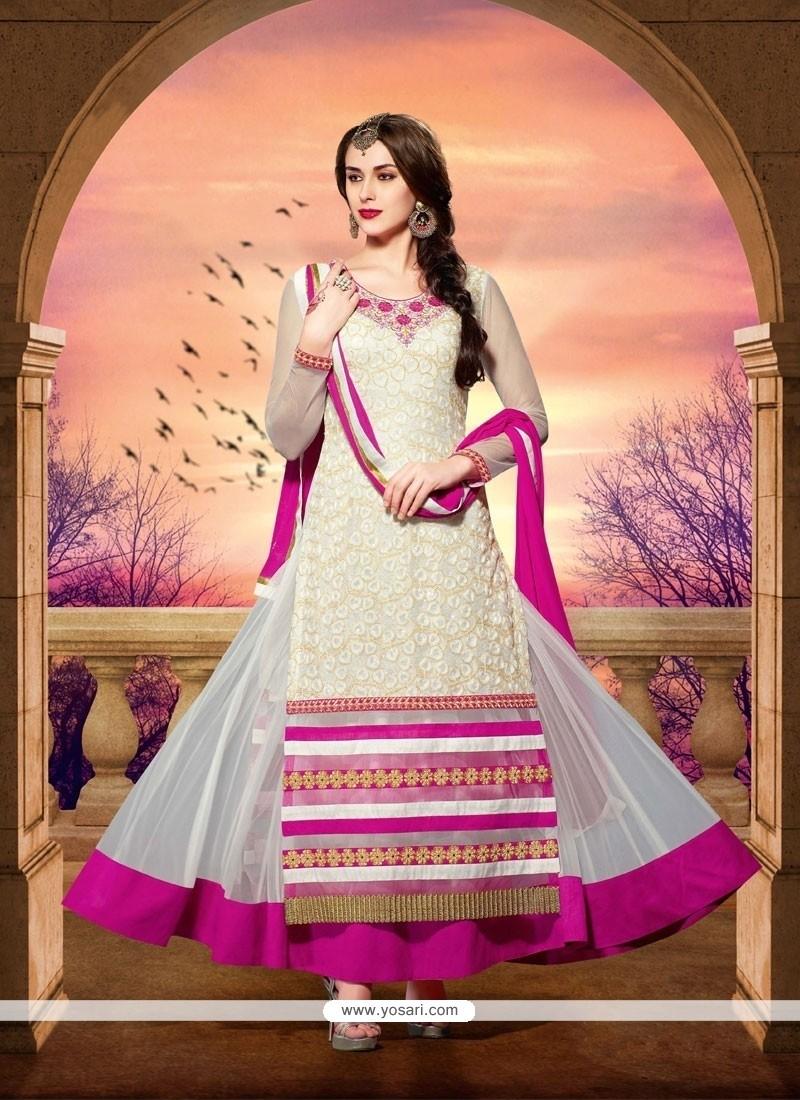 Fab White Net Designer Anarkali Suit